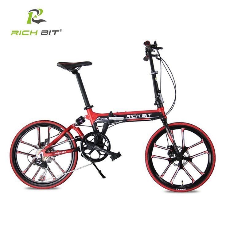 RichBit 20 Inch City Folding Bicycle Heterotype Tube Frame Double Disc Brake Folding Bike 7 Speeds 10 Spokes Folding Bike Red