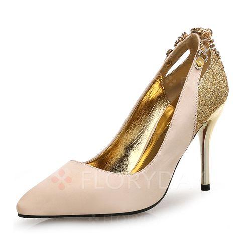 Schuhe - $60.23 - Frauen Absatzschuhe Geschlossene Zehe Stöckel Absatz Satin Funkelnde Glitzer Schuhe (1625116154)