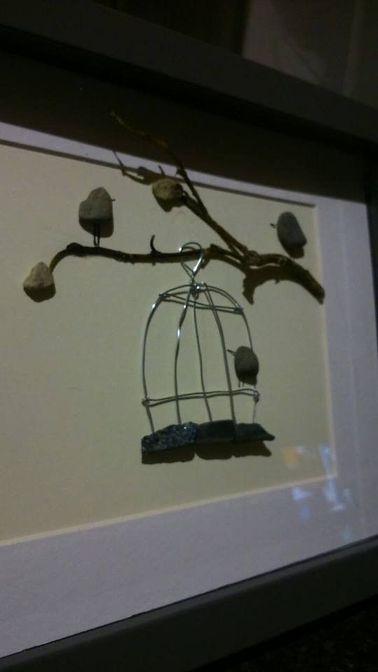 """Away With The Birds"" Pebble Art"