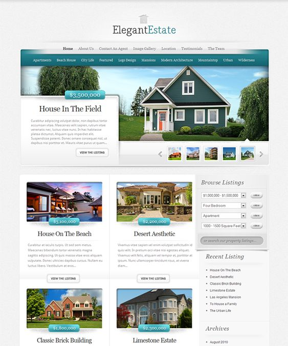 This real estate WordPress theme comes with Google Maps integration, 5 predefined color schemes, a property listings search functionality, complete localization, a featured property slider, cross-browser compatibility, and more.