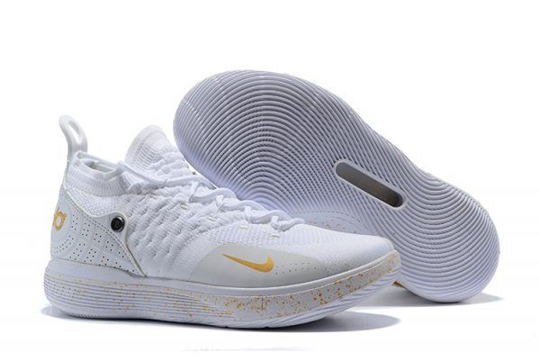 71c9c2ab3743 2018 Nike KD 11 White Metallic Gold Basketball Shoes For Sale Online ...