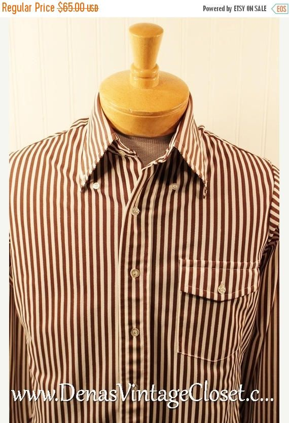 50% Off SALE Vintage 70's Arrow Knits Polyester Disco Men's Hipster Shirt Brown White Striped Design SZ L