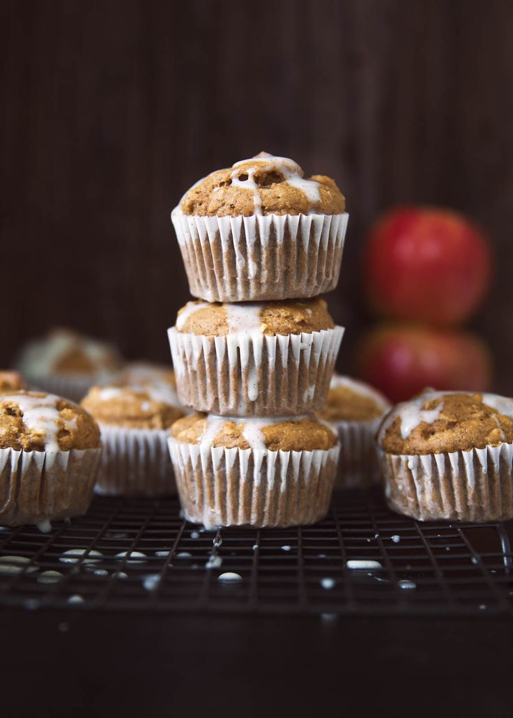 Healthy Apple Oatmeal Muffins made with whole wheat flour, fresh apples and chai spices. Finished with a light vanilla bean glaze for a special treat!