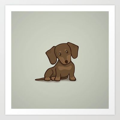 Daschund Puppy Illustration Art Print by Li Kim Goh - $19.00