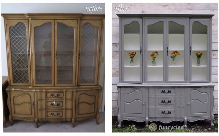 French Provincial Hutch Makeover by FunCycled http://funcycled.com/projects/french-provincial-hutch-makeover-tuesdays-treasures/ #funcycled #design #interiors #furniture #makeovers