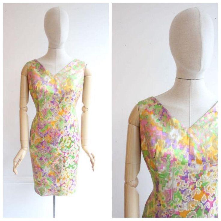 """Babou"" Vintage 1960's Multicoloured Silk Lurex Cocktail Dress UK 10-12"