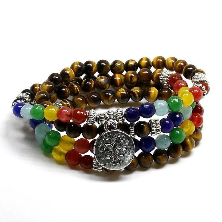 Reiki Chakra Beaded Multi layer Bodhi Tree Stone Bracelet