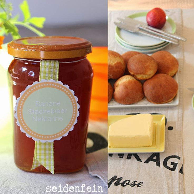 seidenfeins Blog vom schönen Landleben: What a wonderful day ! Stachelbeermarmelade mit Milchbrötchen * gooseberry jam with muffin