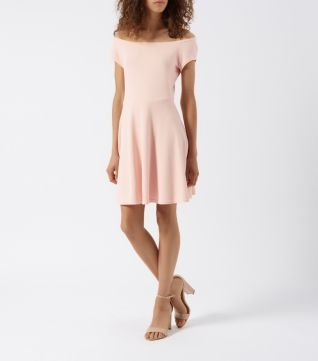 Light Pink Bardot Neck Waffle Skater Dress