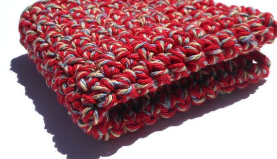 Dark Red Tan Blue Green 10 x10  Double Thick Hand by TSCrocheted, $4.10