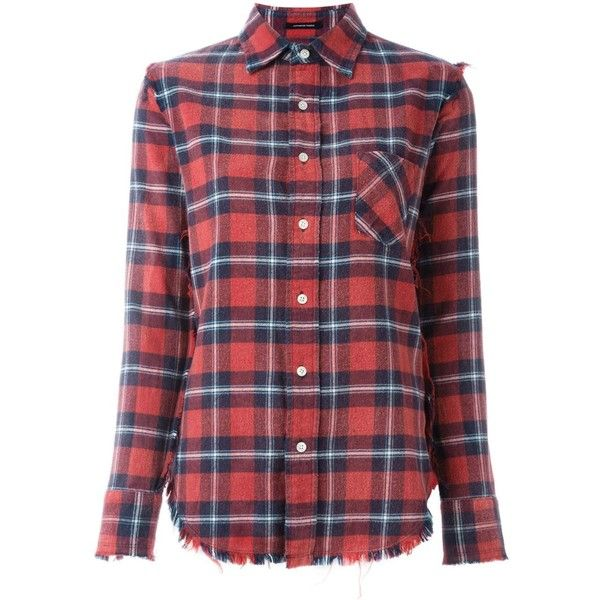 R13 Plaid Shirt (15,400 PHP) ❤ liked on Polyvore featuring tops, red, shirt tops, tartan shirts, red cotton shirt, red tartan shirt and tartan top