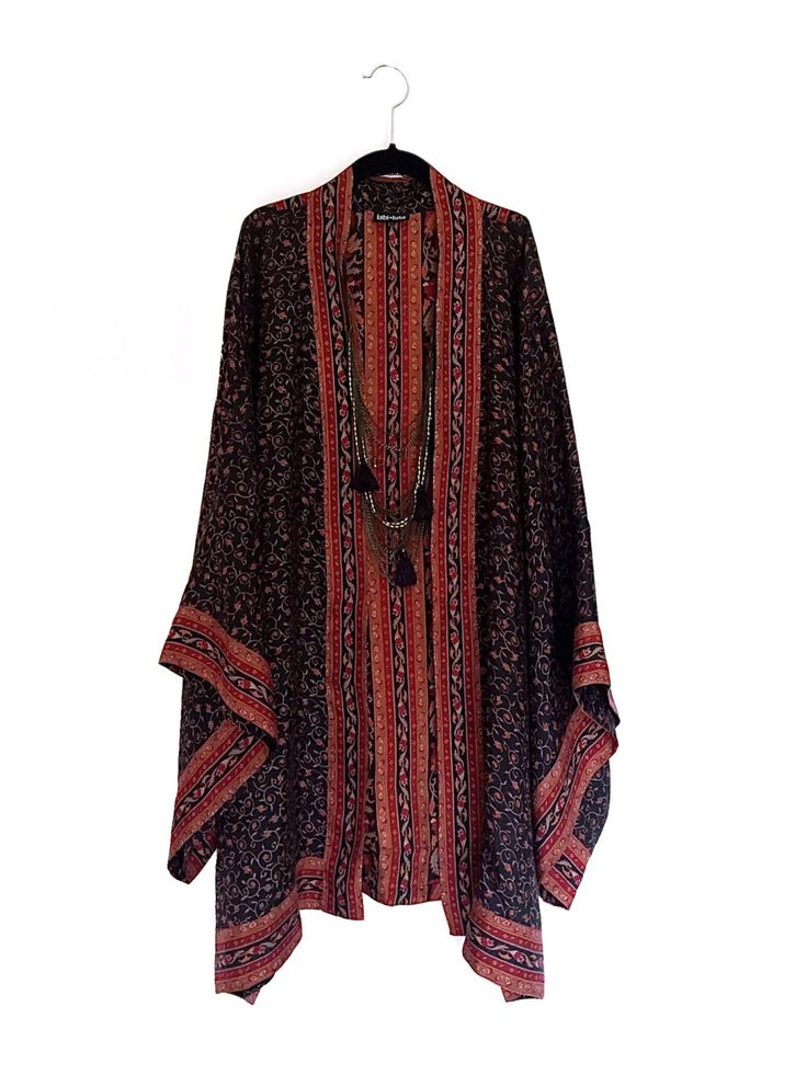 A personal favourite from my Etsy shop https://www.etsy.com/listing/223682683/pure-silk-long-kimono-jacket-beach-cover