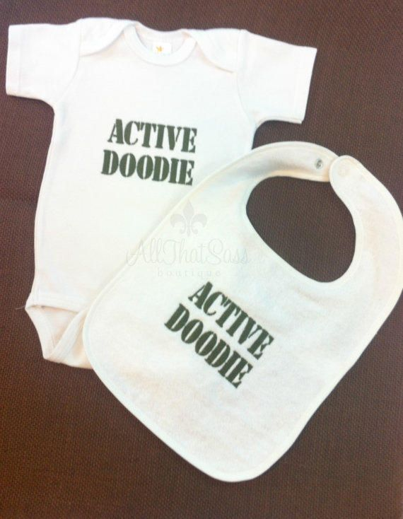 Active Doodie - Onesuit and Bib Set - Baby Shower Gift - Military - Army - Navy - Marines - Coast Guard - Air Force - from All That Sass Boutique #cutest
