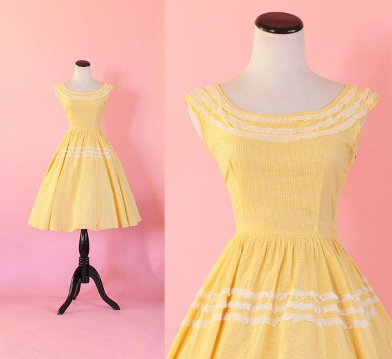 1950s gingham dress/ 50s yellow sundress/ by thesweetlifevintage