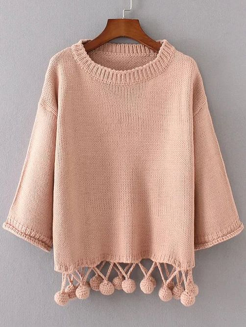 Shop Pink Drop Shoulder Pom Pom Hem Sweater online. SheIn offers Pink Drop Shoulder Pom Pom Hem Sweater & more to fit your fashionable needs.