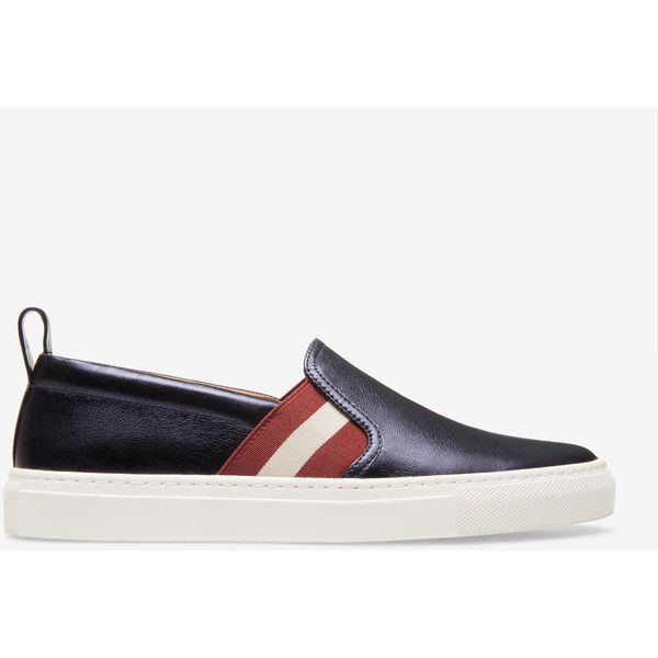 Bally HENRIKA Women's lamb leather slip-on trainers in ink ($395) ❤ liked on Polyvore featuring shoes, sneakers, rubber sole shoes, slip-on sneakers, grip trainer, bally shoes and traction shoes