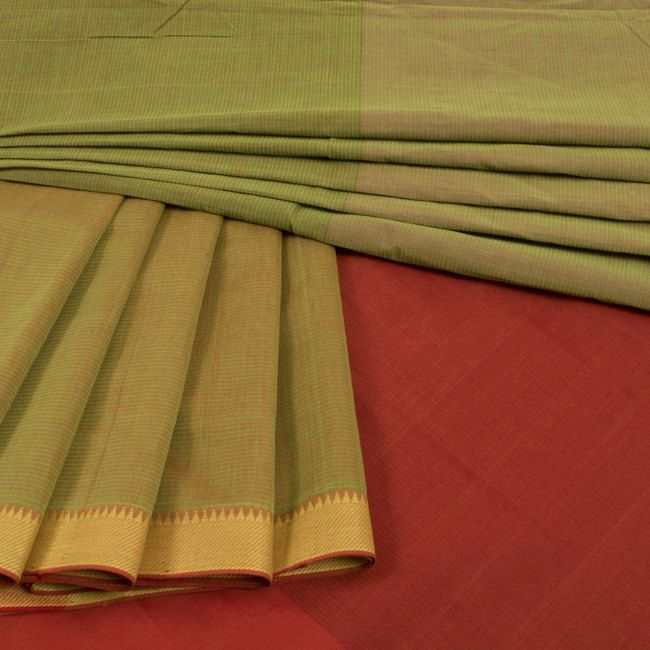 Buy online Handwoven Green Mangalgiri Cotton Saree 10014446