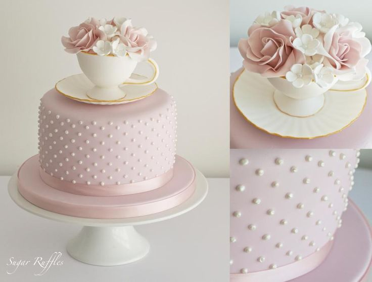 Birthday cake with piped pearls and a sugar teacup & saucer filled with sugar flowers Blog- http://www.sugarruffles.com/ Instagram http://www.instagram.com/sugarruffles Pinterest http://www.pinterest.com/charlotte22/
