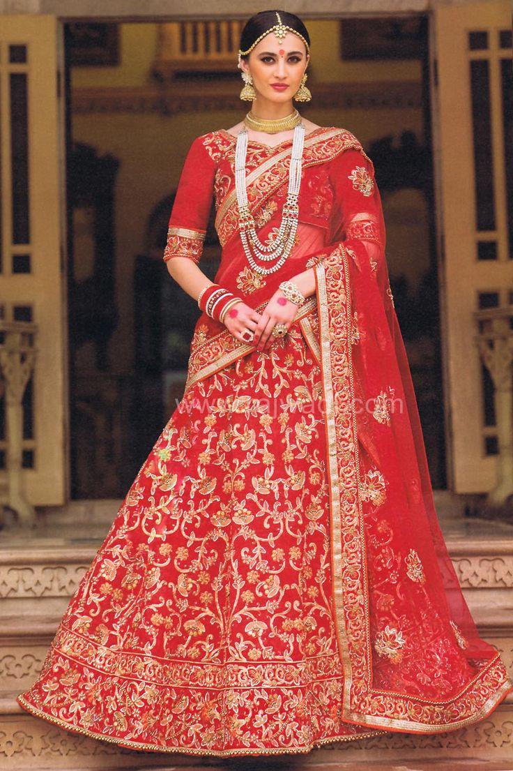 Red Bridal Lehenga Saree with Red Stone and Pearl Work... #rajwadi #lehengacholi #weddingseason #weddingdress #embroidery #lehenga #ethnicwear #bridalwear #designerwear #onlineshopping