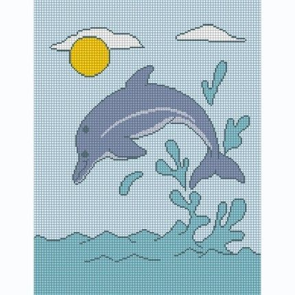 free dolphin afghan chart | SPLASHING DOLPHIN CROCHET AFGHAN PATTERN GRAPH CHART CROSS STITCH TOO ...
