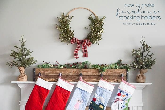 I am sharing how to make farmhouse stocking holders for your mantle. This easy DIY can create a big statement in your home and is functional too!