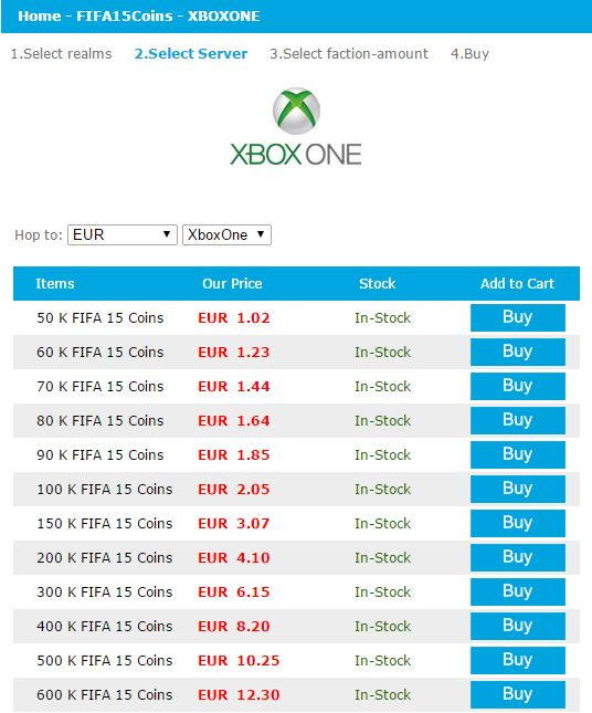 Quick Scan of latest Price of FIFA 15 Coins for XBOX One: http://www.2mygame.com/FIFA15Coins/XBOXONE.html  100 K FIFA 15 Coins EUR 2.05  500 K FIFA 15 Coins EUR 10.25  1000 K FIFA 15 Coins EUR 20.50  5000 K FIFA 15 Coins EUR 102.49   We are the leading provider of FIFA 15 XBOX One Coins. You can get FIFA 15 Coins for all platform,such as PS4,PC,IOS,XBOX in several minutes. 24/7 live support for you!  http://www.2mygame.com/FIFA15Coins/XBOXONE.html