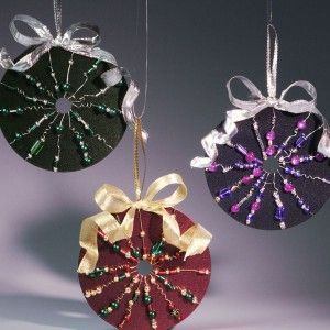 Make tree ornaments out of old CDs. Glue two CDs back-to-back with a 5-inch loop of ribbon (for hanging) sandwiched in between. Decorate with paint, photos, felt, beads, buttons, faux jewels, ribbons, stickers, etc.