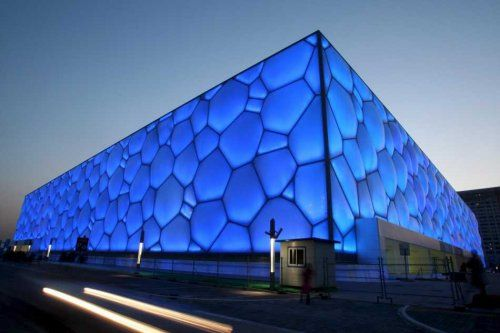 Watercube' – a bowl of steel bands and a box of blue bubbles Beijing