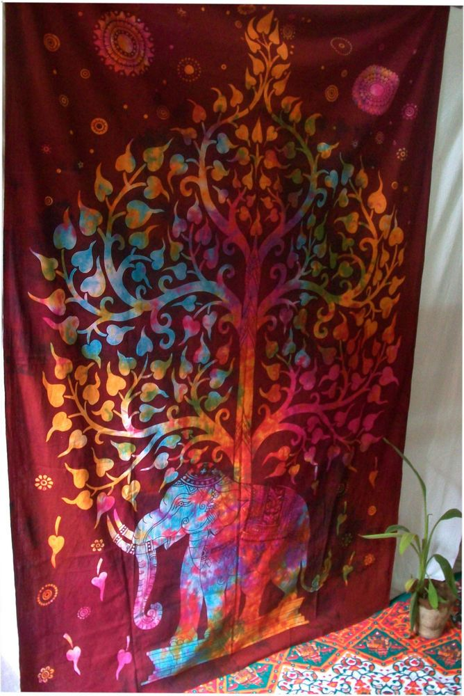 Tree Of Life Indian Tapestry Wall Hanging Throw Vintage Cotton Bedspread Decor #Unbranded #BedspreadTapestry