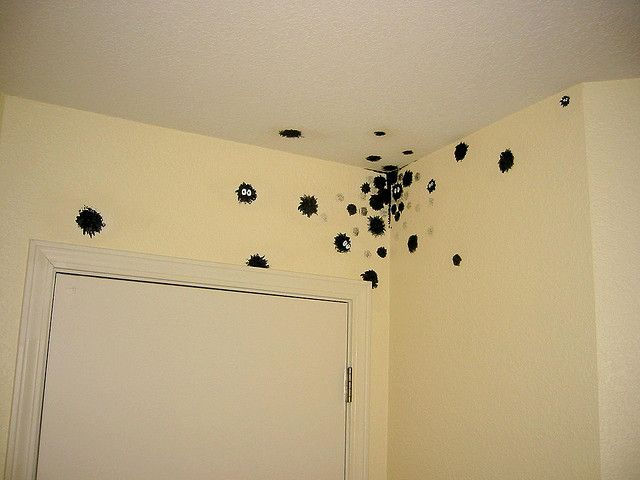 Soot sprites painted on the wall. <3  (from My Neighbor Totoro and Spirited Away) pmg am doing this in my kids room!