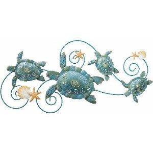 sea decorations for home | Wall Art Handcrafted Decor Sea Turtle (31x14) - Regal Art #5073