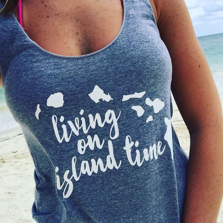 Living on Island Time tank at the beach! The perfect tank for your spring break getaway