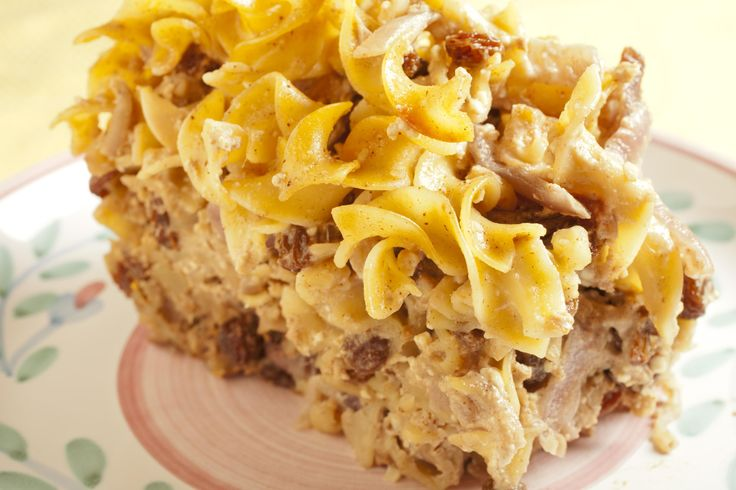 A recipe for kosher for Passover kugel made with Passover noodles, cottage cheese, sour cream, and sugar. You can customize the recipe with raisins or apples, and even make it in advance and freeze.