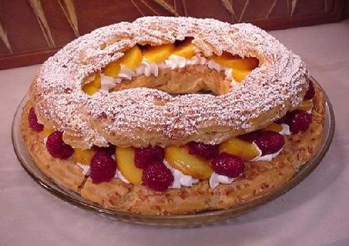 Paris Brest aux Fruits - Pate a Choux Category   This is quite an interesting way to serve fruit and whipped cream. The Paris Brest has some history around it's creation that lives on today in an annual bicycle race. A very fun-to-serve family size dessert.