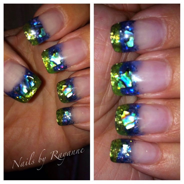 LCN peacock blue and green card glass gel over glitter and paua shell.