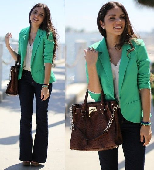 Furor Moda Green Blazer, Lulus Top, Mimi Boutique Bag, Forever 21 Flare Jeans, Mali Beads Bracelets