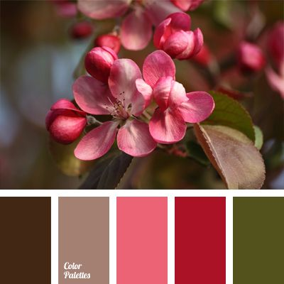 Natural combination of brown and pink shades with olive green. This color scheme can be used to design a small hall of a city apartment or a spacious outdoor veranda of a country house. Floral interior will create a cozy atmosphere and bring personality to the room.