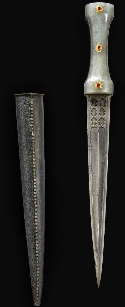 Ruby-Set Jade-Hilted Dagger  Dated: circa 1700 Culture: Ottoman Medium: steel, jade, rubies, gold, leather, wood Place of Origin: Turkey