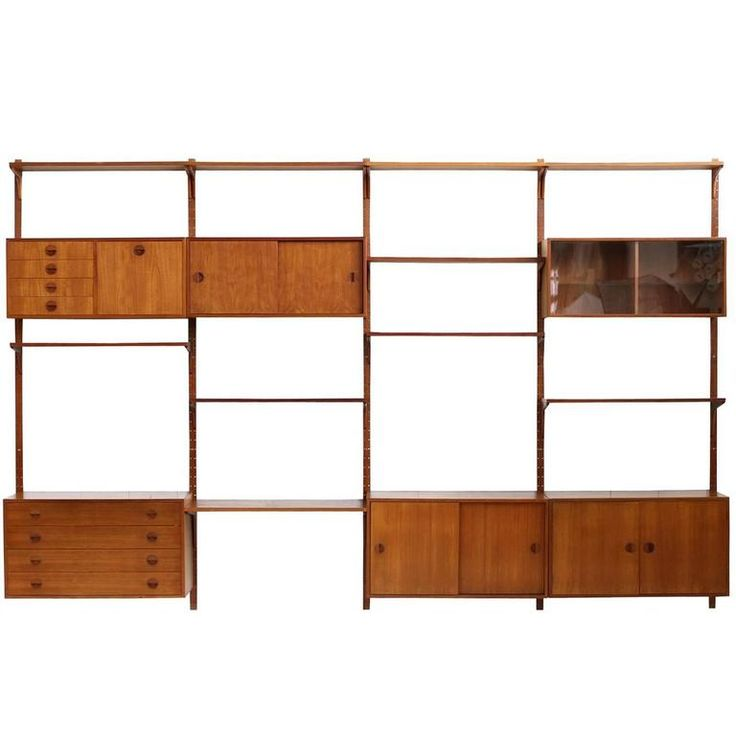 Large Danish 1960s Teak Wall Unit by Rud Thygesen for Hg Møbler Shelving System | From a unique collection of antique and modern shelves at https://www.1stdibs.com/furniture/storage-case-pieces/shelves/