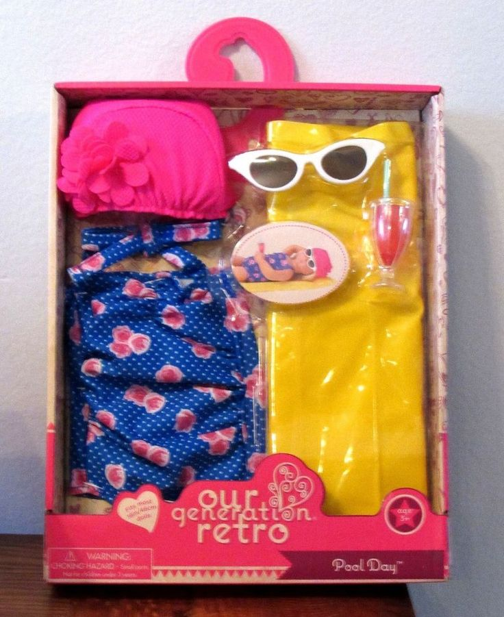 """American Our Generation Pool Day RETRO Swimsuit Clothes Floatie 18"""" Girl Doll 