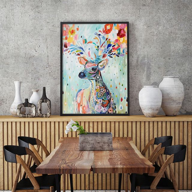 Bianche Wall Nordic Simple Hand-painted Watercolor Flower Deer A4 Canvas Painting Art Print Poster Picture Wall Modern Decor