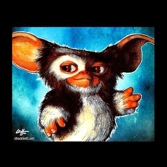 Print 8x10  Gizmo  The Gremlins Horror Comedy Pop Art by chuckhodi (Art & Collectibles, Drawing & Illustration, the gremlins, gizmo, movies, pop art, cute, monster, dark art, horror, lol, comedy, furry, animal, aliens)
