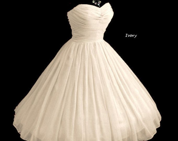 1950s Strapless Vintage Style Timeless Classic Dress! Fully Boned and Corseted Flattering Delicately Pleated Gathered Bodice...Your Color