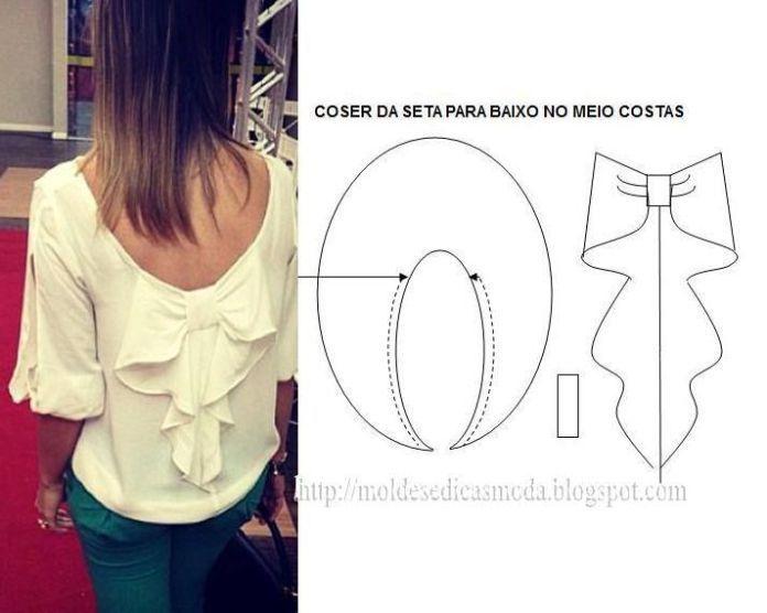 DIY Clothing & Tutorials: Modelagem de laço para o decote das costas. Fonte: www.facebook.com/