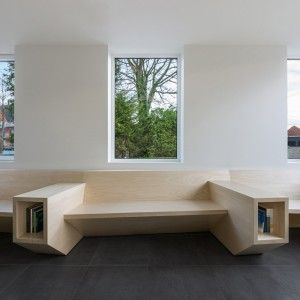 Joshua+Florquin+uses+angular+joinery+to+create+bespoke+furnishings+for+doctor's+surgery