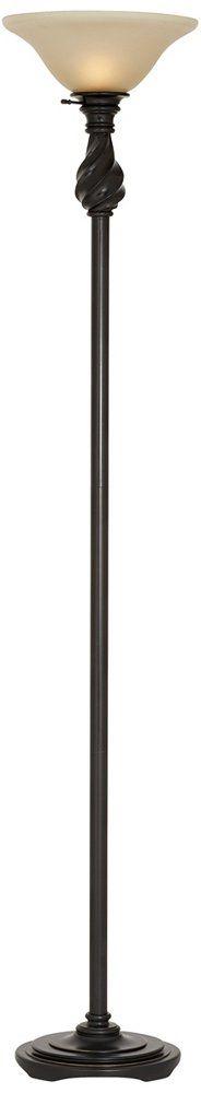 "Regency Hill Torchiere Floor Lamp, Restoration Bronze. Traditional torchiere floor lamp with amber glass. Painted restoration bronze finish. Cast resin construction. 70"" high. Maximum 150 watt or equivalent bulb (not included)."