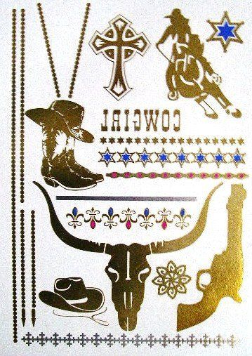 Cowgirl Metallic Temporary Tattoos Gold Longhorn Cattle Roping Cowboy Boots Cowboy Hat Six Shooter Stars Fleur De Lis Stars Cross