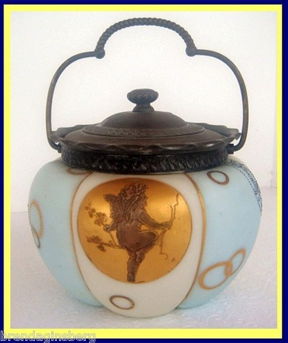 Antique Crown Milano Royal Flemish Cracker Barrel Biscuit Jar Gold Enamel 4822 | eBay    (2,000.00 !!!)