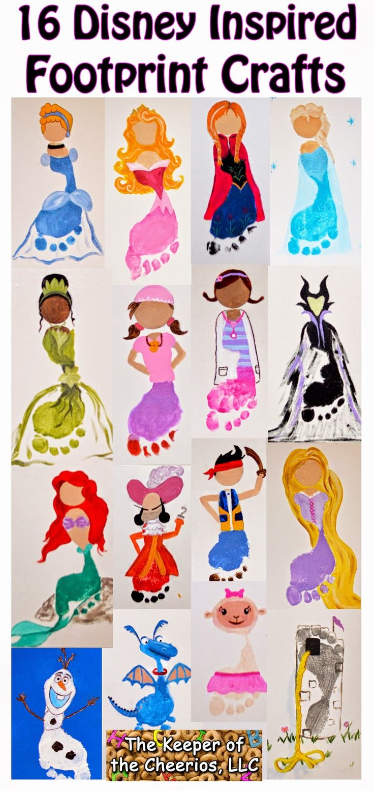16 Disney Inspired Footprint Crafts, Cinderella Footprint, Sleeping Beauty Footprint, Elsa Footprint, Anna Footprint, Olaf Footprint, Princess and the frog footprint, jake and the neverland pirates footprint, Doc Mcstuffins footprint, tangled footprint, melificent footprint, castle footprint Frozen Footprints