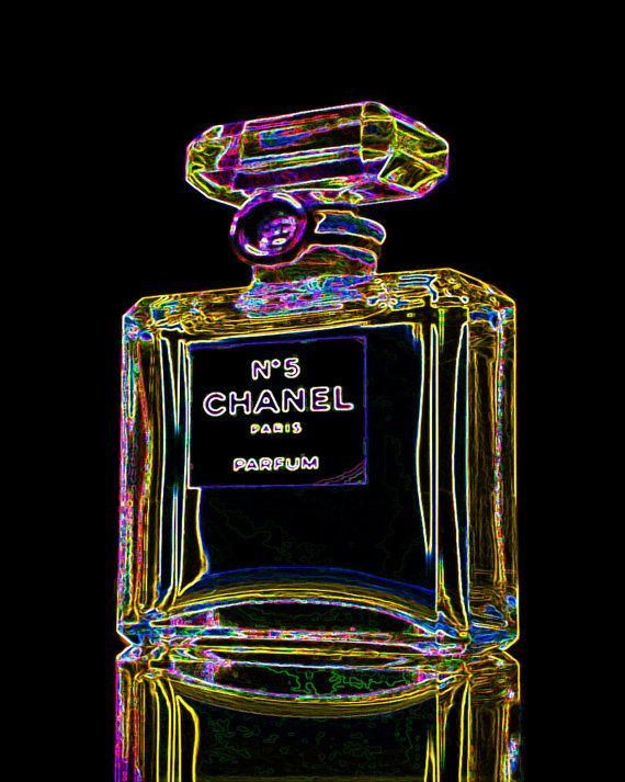 50 Percent Off Chanel No 5 Perfume Bottle Print Neon Glow Black Home Decor Modern Wall Pop art Fashion Black Designer Paris, $12.95